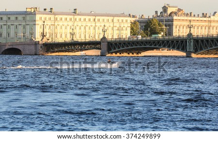 St. Petersburg, Russia - 6 September, 2015. Excursion - tourist spots in St. Petersburg. Aqua bikers on the Neva.