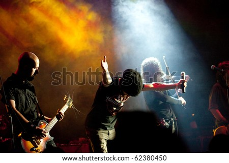 "ST. PETERSBURG, RUSSIA - SEPTEMBER 19: Group ""DOMINIA"" in concert on September 19, 2010 in St Petersburg, Russia - stock photo"