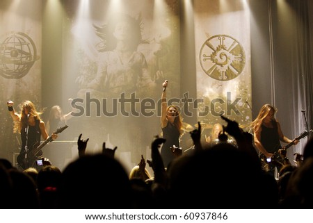 "ST. PETERSBURG, RUSSIA - SEPTEMBER 9: Group ""EPICA"" in concert on September 9, 2010 in St Petersburg, Russia - stock photo"