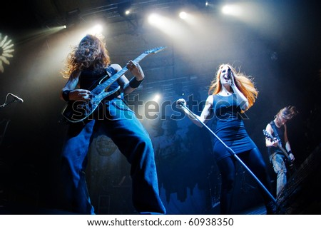 """ST. PETERSBURG, RUSSIA - SEPTEMBER 9: Group """"EPICA"""" in concert on September 9, 2010 in St Petersburg, Russia - stock photo"""