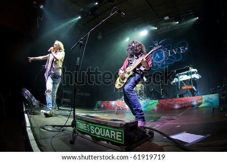 "ST. PETERSBURG, RUSSIA - SEPTEMBER 11: Group ""NEGATIVE"" in concert on September 11, 2010 in St Petersburg, Russia"