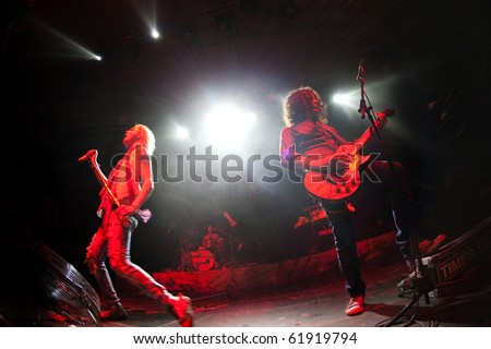"ST. PETERSBURG, RUSSIA - SEPTEMBER 11: Group ""NEGATIVE"" in concert on September 11, 2010 in St Petersburg, Russia - stock photo"