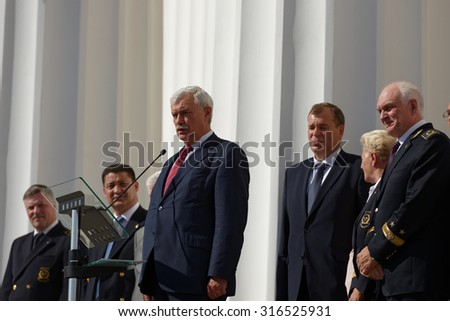 ST. PETERSBURG, RUSSIA - SEPTEMBER 1, 2015: Speech of the Governor of St. Petersburg Georgy Poltavchenko at the meeting dedicated to the Day of Knowledge in the National Mineral Resources University