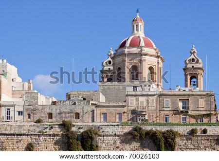 St. Philip's Chapel dome at Senglea. Malta - stock photo