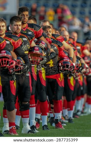 ST. POELTEN, AUSTRIA - JUNE 3, 2014: Team Germany during the national anthem before the game against Sweden during the Football EC European Championchip in St Poelten, Austria. - stock photo