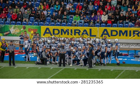 ST. POELTEN, AUSTRIA - MAY 30, 2014: Team Finland prepares for the game against Germany during the EFAF European Championships 2014 in Austria. - stock photo