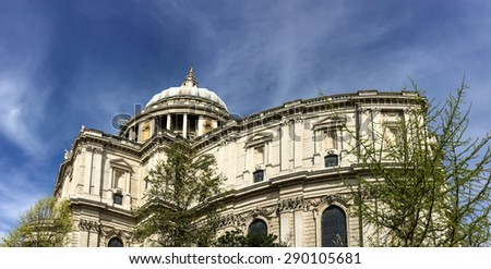 St. Pual cathedral with blue sky, London, UK