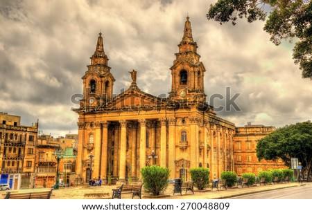 St. Publius Parish Church - Floriana, Malta - stock photo