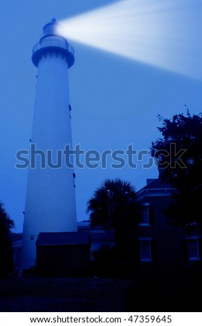St Simons Island Lighthouse Georgia Coast - stock photo