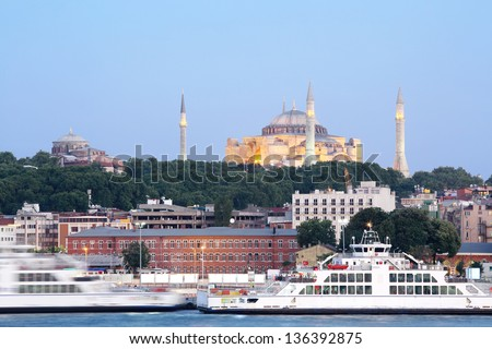 St. Sophia Cathedral - museum and world-famous monument of Byzantine architecture in Istanbul, Turkey. - stock photo