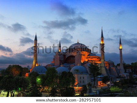 St. Sophia Cathedral on a sunset, Istanbul - stock photo