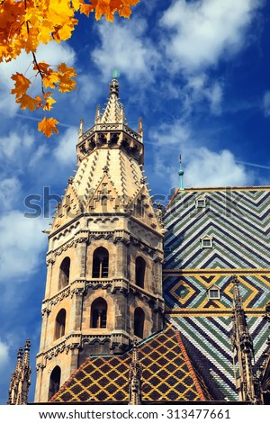 St. Stephan cathedral in Vienna at autumn - stock photo