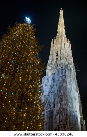 St. Stephan cathedral with christmas tree, Vienna, Austria - stock photo