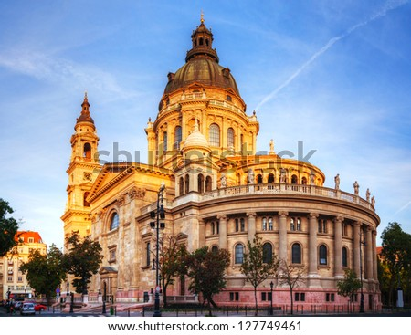St. Stephen basilica in Budapest, Hungary in the morning - stock photo
