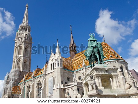 St. Stephen Monument Looking at Matthias Church at Buda Castle in Budapest, Hungary - stock photo