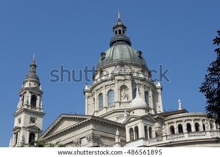 St Stephen neoclassical dome and campanile in the center of Budapest