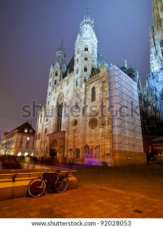 St. Stephen's Cathedral in night.  Vienna, Austria - stock photo