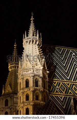 St Stephen's Cathedral (Vienna, Austria) at night - stock photo