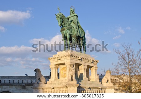 St Stephen Statue in Budapest - Hungary - stock photo