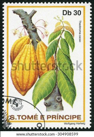 ST. THOMAS AND PRINCE ISLANDS - CIRCA 1981: A stamp printed in St.Thomas and Prince Islands shows  Theobroma cacao, series World Food Day, circa 1981 - stock photo
