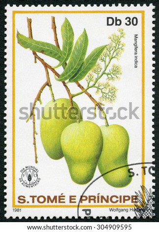 ST. THOMAS AND PRINCE ISLANDS - CIRCA 1981: A stamp printed in St.Thomas and Prince Islands shows  Mangifera indica, Mango, series World Food Day, circa 1981 - stock photo