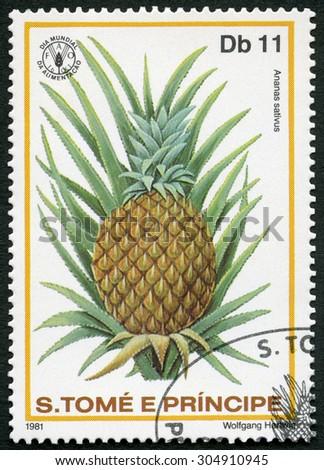 ST. THOMAS AND PRINCE ISLANDS - CIRCA 1981: A stamp printed in St.Thomas and Prince Islands shows  Ananas sativus, pineapple, series World Food Day, circa 1981 - stock photo