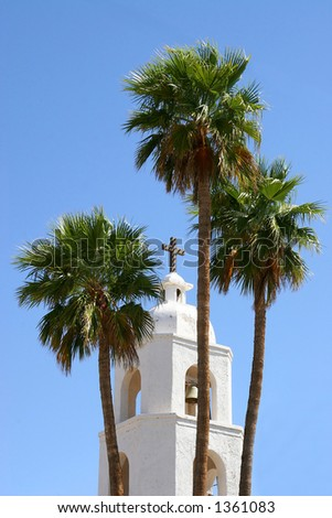 St. Thomas Mission Bell Tower - stock photo