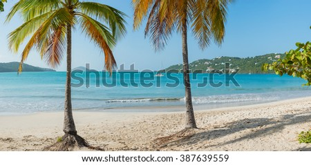 St. Thomas, US Virgin Islands Magen's Bay beautiful beach scene horizontal - LARGE Panorama
