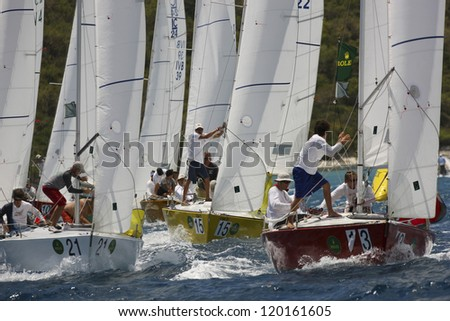 ST. THOMAS, USVI - MARCH 26: IC 24 races in 2010 International Rolex Regatta in St. Thomas, USVI on March 26, 2010. - stock photo
