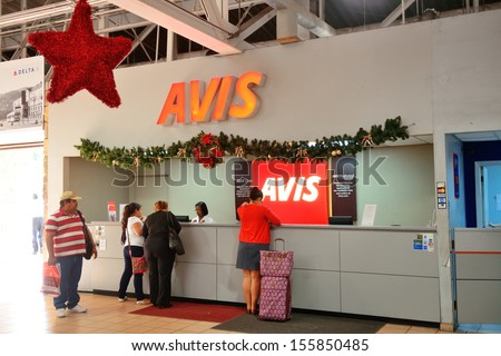 ST THOMAS, VIRGIN ISLANDS - JAN 7: Car rental company counter at airport on January 7, 2013 in St Thomas, Virgin Islands. Cyril E. King Airport is the busiest in the United States Virgin Islands