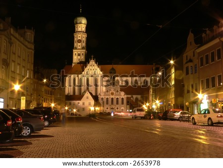 St ulrich church at night. Augsburg