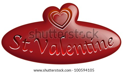 St. Valentine 3d button / 14 february  button for lovers