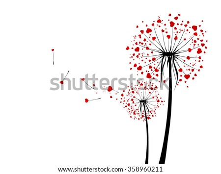 St.Valentine Day Love Dandelions With Red Hearts Over White - stock photo