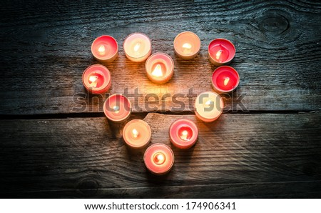 St Valentine's day candles - stock photo