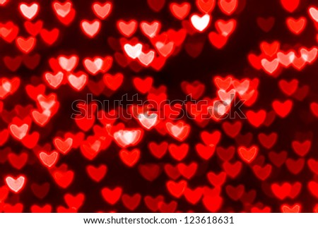 St. Valentine's Day red heart bokeh background, place for text - stock photo