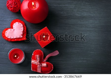 St Valentine's decor on wooden background