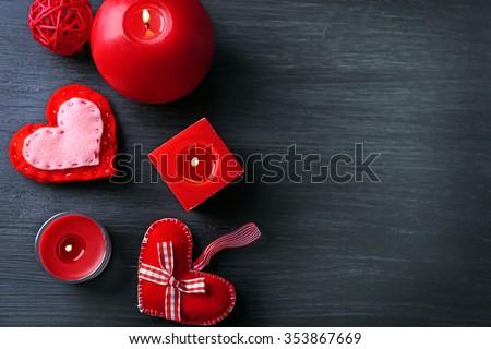St Valentine's decor on wooden background - stock photo