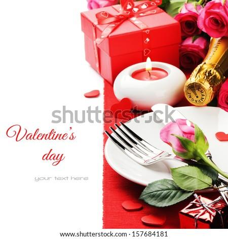 St Valentine's menu concept isolated over white  - stock photo