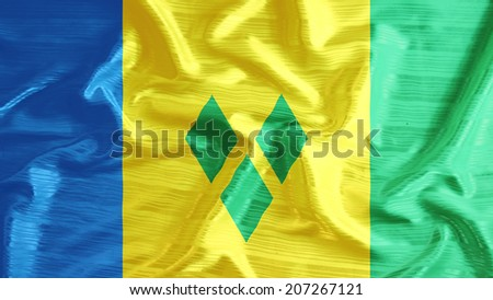st vincent & the grenadines flag closeup of ruffled