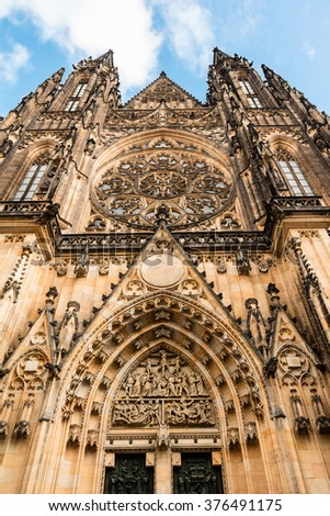St. Vitus Cathedral is Prague Castle main entrance tower close-up. - stock photo
