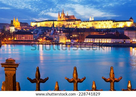 St. Vitus cathedral, Moldau river, Lesser town, Prague castle, Prague (UNESCO), Czech republic - stock photo