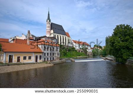 St. Vitus Church in Cesky Krumlov - Czech Republic - stock photo