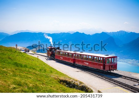 ST. WOLFGANG, AUSTRIA - AUGUST 6: Diesel train railway going to Schafberg Peak (1783m) on August 6, 2013 in St. Wolfgang.