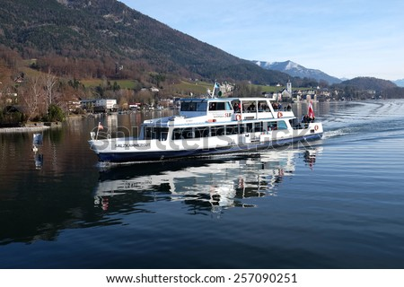 ST. WOLFGANG, AUSTRIA - DECEMBER 14: Boat Salzkammergut on the Lake Wolfgangsee in Austria on December 14, 2014.