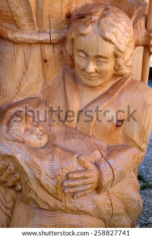 ST. WOLFGANG, AUSTRIA - DECEMBER 14: Nativity scene, creche or crib, is a depiction of the birth of Jesus in St. Wolfgang on Wolfgangsee in Austria on December 14, 2014. - stock photo