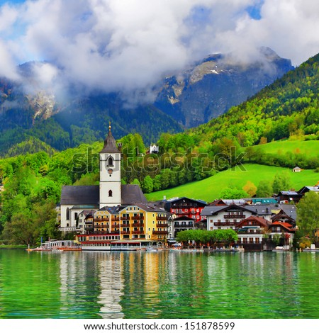 St. Wolfgang lake - beautiful Alpine lake in Austria - stock photo