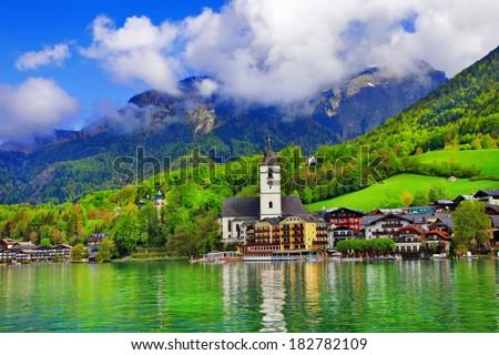 St. Wolfgang lake - beautiful Alpine lake in Austria - stock photo