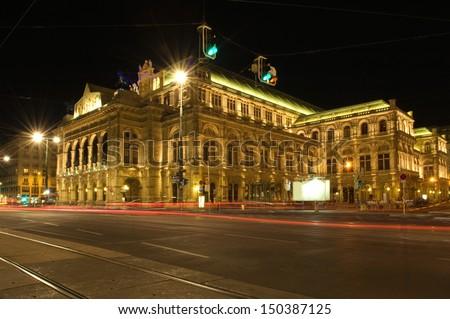 Staatsoper, Viennas grand Opera House at night - stock photo