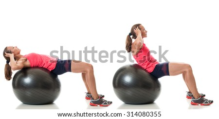 Stability ball exercise. Studio shot over white. - stock photo