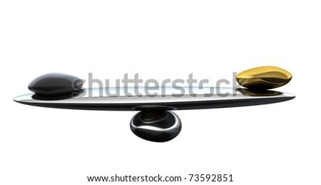 Stability scales with carbon fiber shape and gold isolated on white - stock photo